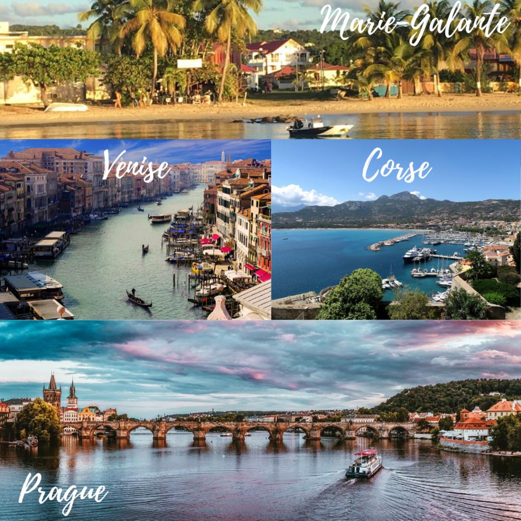 collage de 4 photos représentant Marie-Galante, Venise, la Corse, et Prague. Lune de miel. Paris en Noces.Wedding planner en île de France