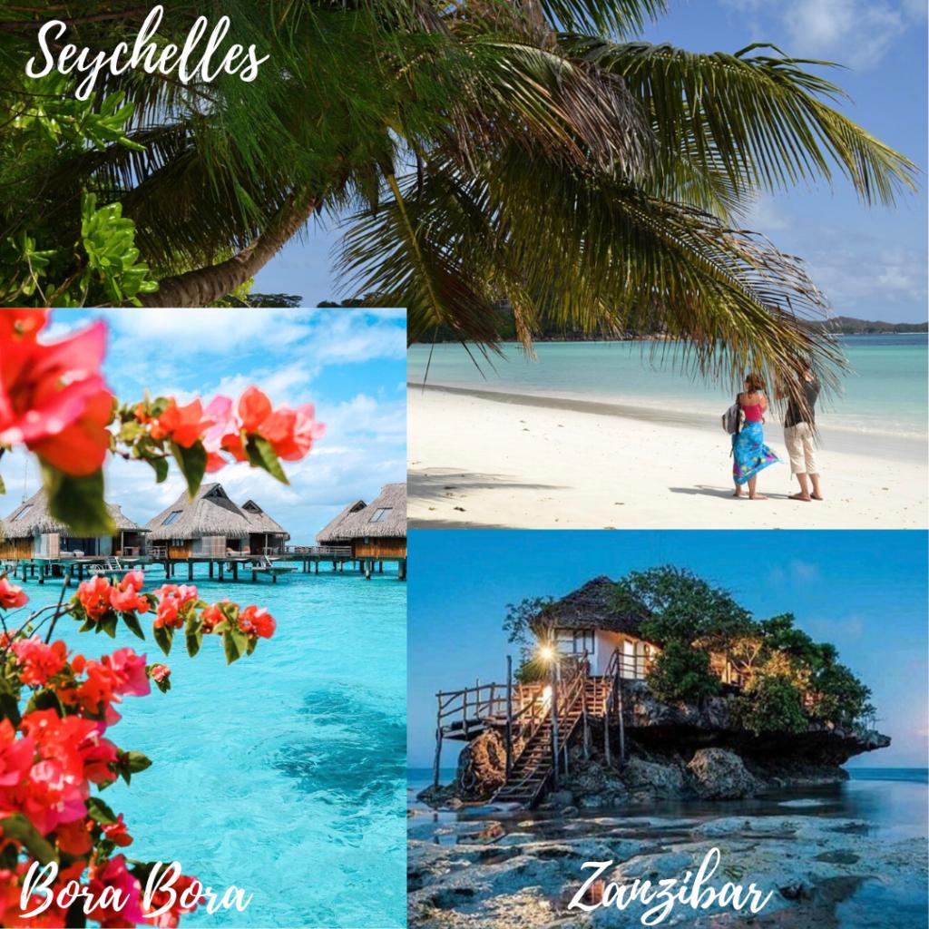 Assemblage de 3 photos représentant les Seychelles, Bora Bora et Zanzibar. Lune de miel. Paris en Noces . Wedding planner en île de France.