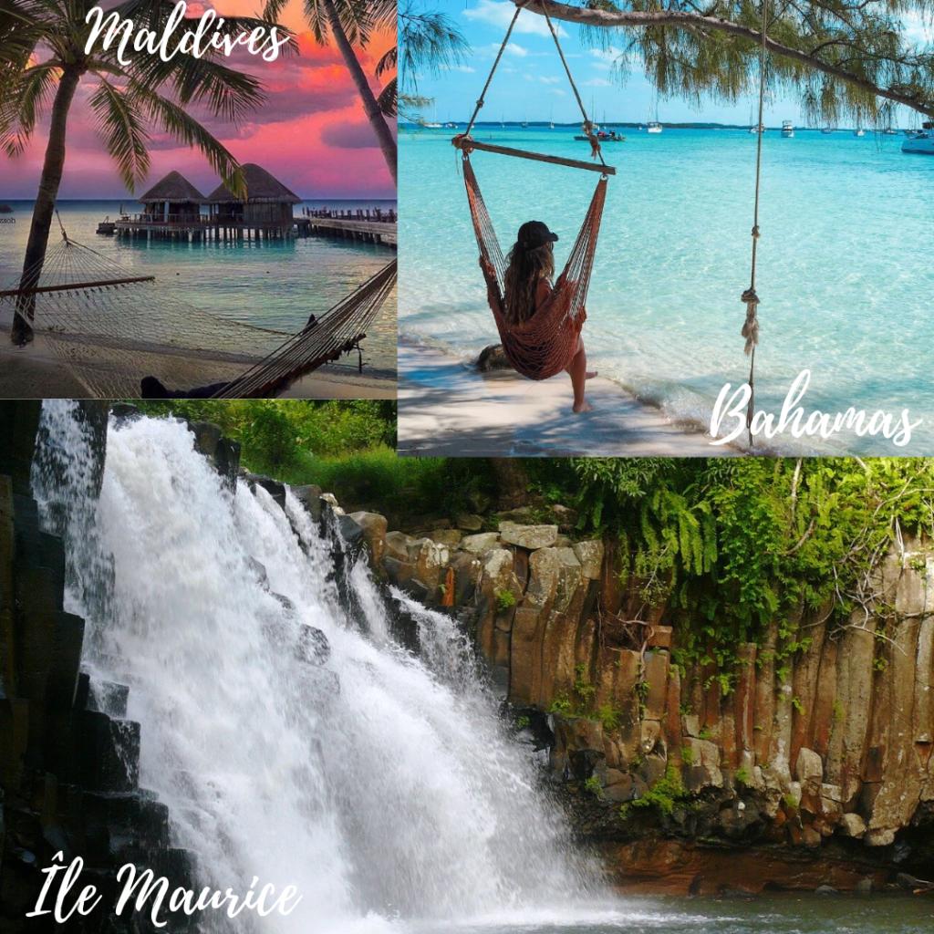 Assemblage de photos representant les Maldives, les Bahamas et l'île Maurice. Lune de miel. Paris en Noces. Wedding planner en île de France
