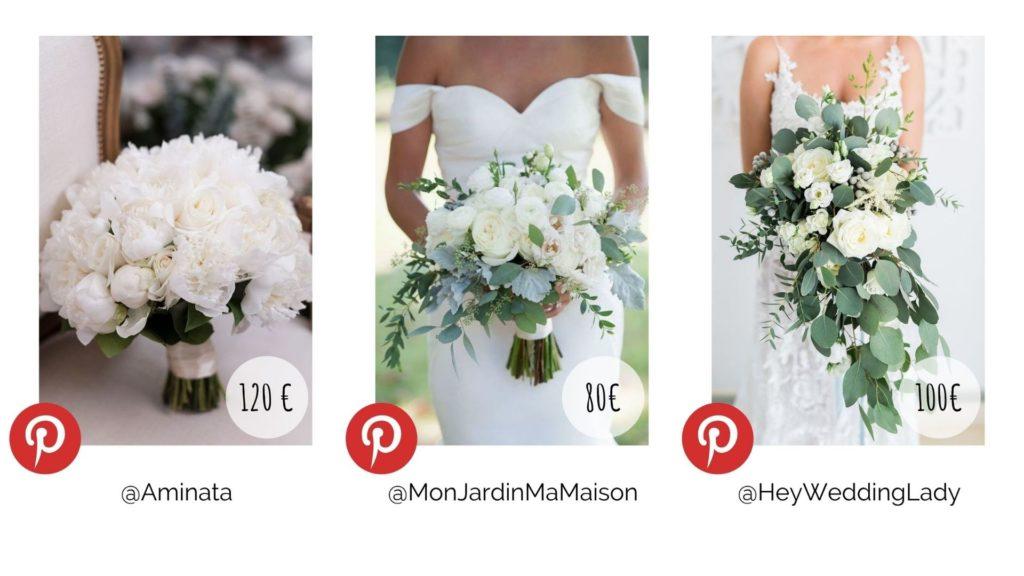 Différents bouquets de mariée. Budget décoration. Wedding Planner en Ile de France. Paris en Noces.