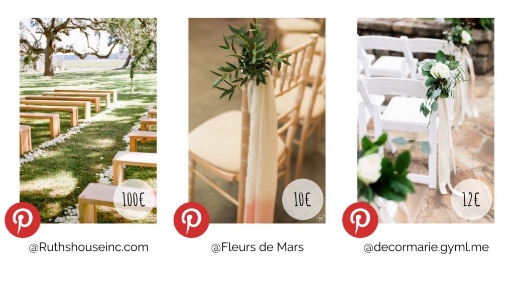 Plusieurs types de décoration d'allée mariage. Budget décoration. Wedding Planner en Ile de France. Paris en Noces.