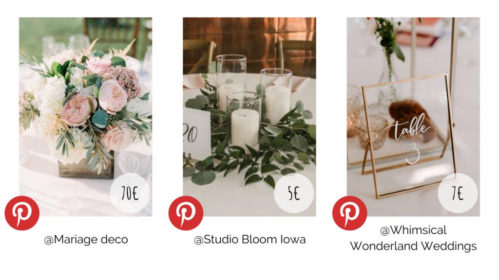 Plusieurs décoration de table mariage. Budget décoration. Wedding Planner en Ile de France. Paris en Noces.