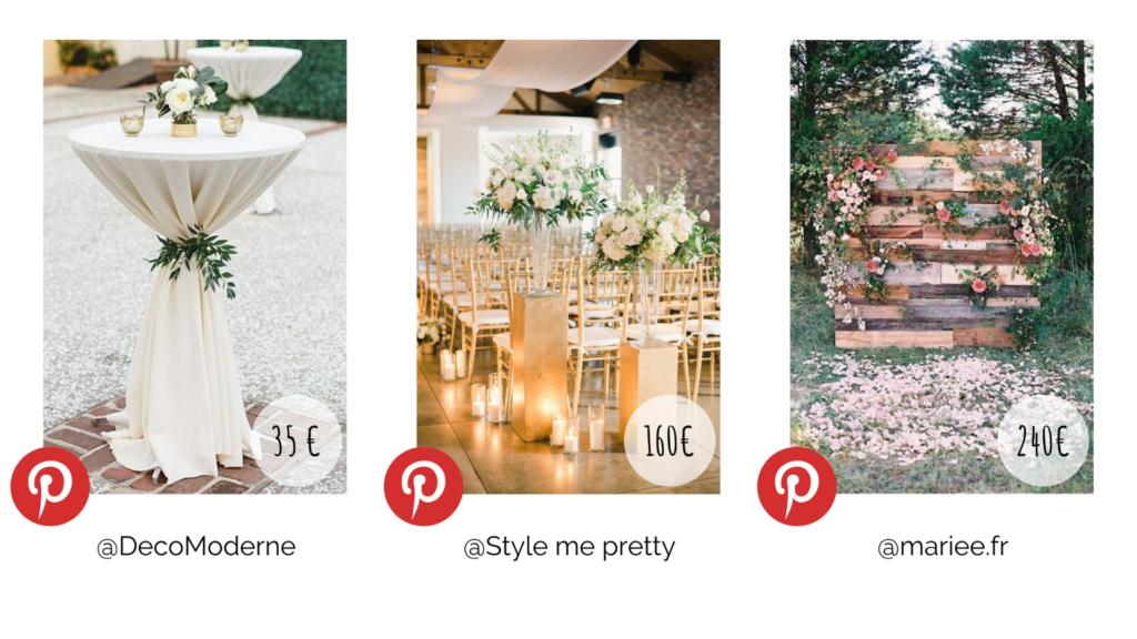 Plusieurs décoration de cocktail mariage. Budget décoration. Wedding Planner en Ile de France. Paris en Noces.