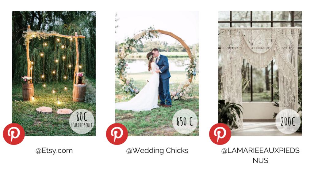 Différents types d'arches de cérémonie mariage. Budget décoration. Wedding Planner en Ile de France. Paris en Noces.