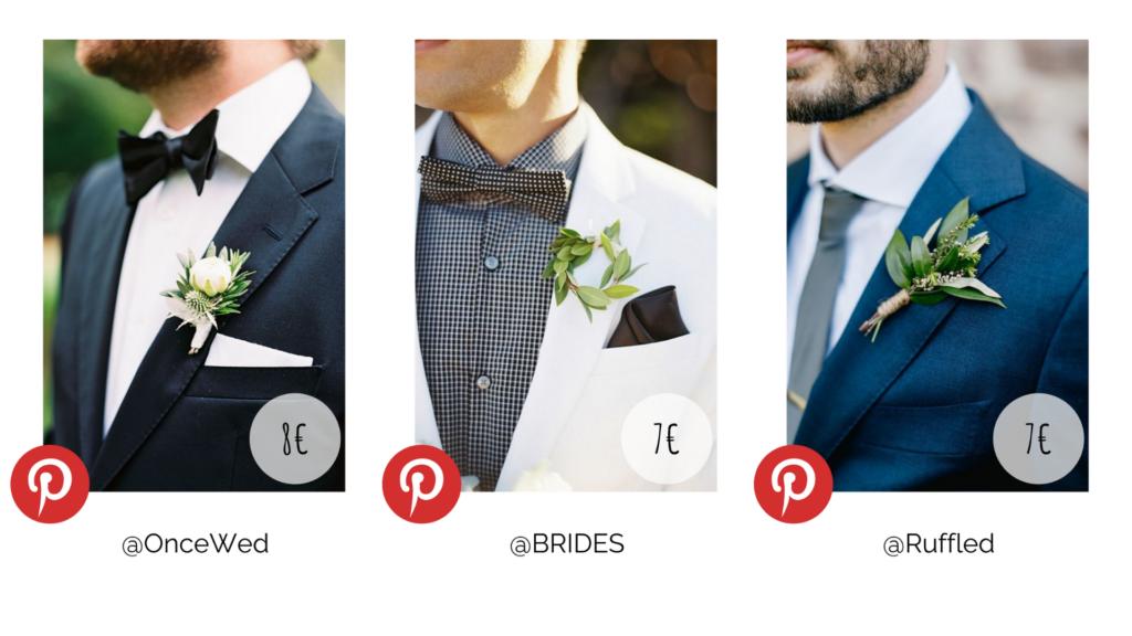 Plusieurs types de boutonnières mariage. Budget décoration. Wedding Planner en Ile de France. Paris en Noces.